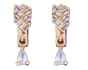 14k Gold Filled Glim Zigzag Earring with Crystal Clear Gemstones