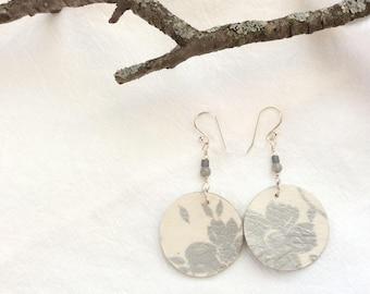 Silver flower paper earrings