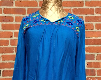 Embroidered Blue Peasant Shirt