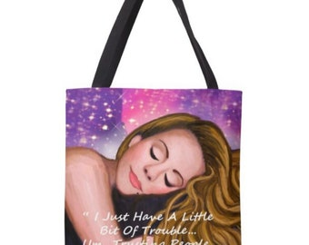 Mariah Carey The Butterfly Returns; White Gown inspired 18in x 18in Tote Bag