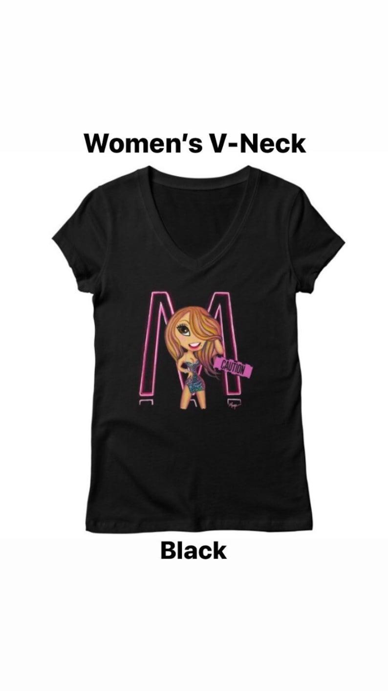 Mariah Carey Caution Inspired Women\u2019s V-Neck Shirt