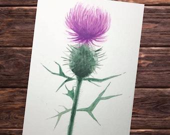 Original Watercolor Purple Thistle Painting