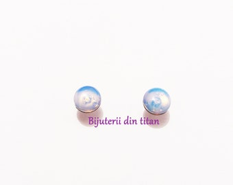 Grade 1 pure titanium earrings with opal