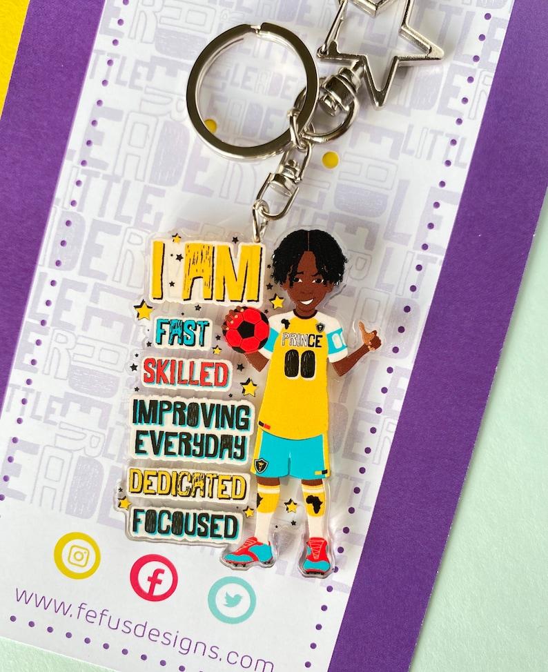 Brown Boy Joy Football Keyring Empowering Boys Bag Charm Black Boy Gifts for Boys Curly kid Affirmation Multicultural Soccer