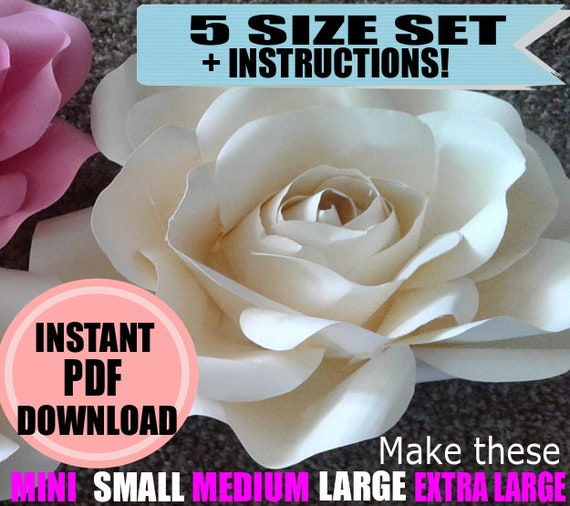 Paper flower template giant paper flowers large paper flowers etsy image 0 mightylinksfo