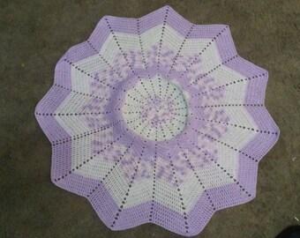 Handmade 12 Point Round Ripple Crochet Baby Blanket Lavender/Pink