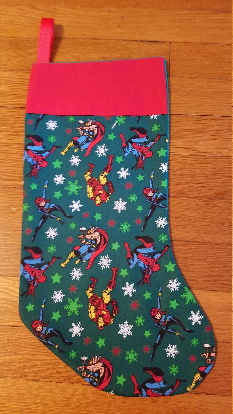 Avengers Holiday Fabric Christmas Stocking with Red Cuff