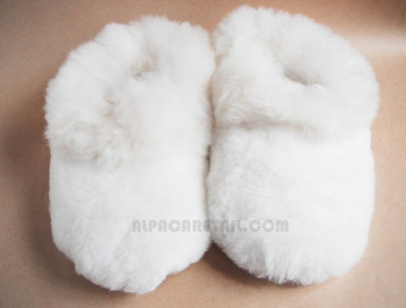 152fa4a9b3c2 Real White HEAVY Super Baby Alpaca Fur Slippers Real Alpaca