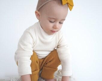 Cotton cream ecru striped ribbed kids sweater