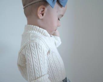 Cotton cream ecru striped ribbed transparent kids sweater