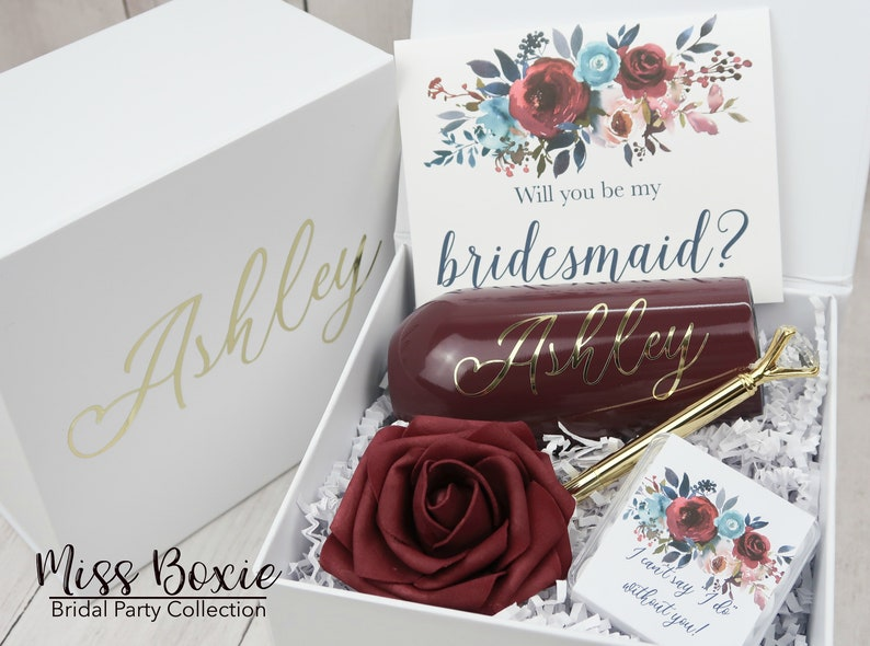 Burgundy Will You Be My Bridesmaid Proposal Box Will You Be My image 0
