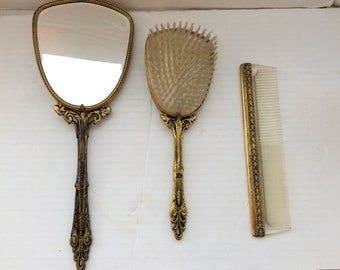 Vintage lipstick mirror gold tone case holder vanity mother of pearl Patrys Brevette SGDG Paris France