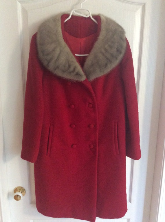 Vintage Red Wool Double Breasted Coat with Fur Tri