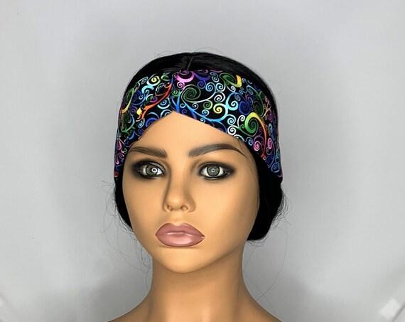 Black Rainbow Swirl Twist Turban Headband
