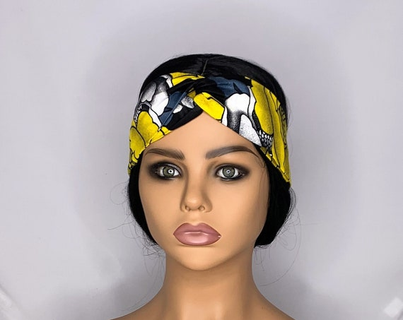 Yellow Black Twist Turban Headband