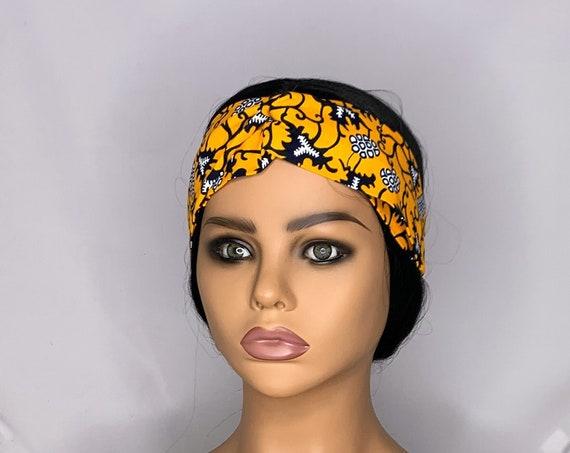 Golden Navy Twist Turban Headband