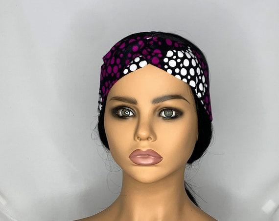 Purple White Dots Twist Turban Headband