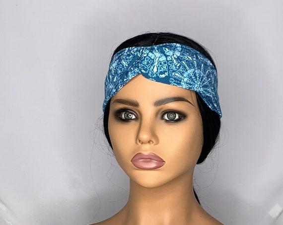 Aqua Tie Dye Twist Turban Headband