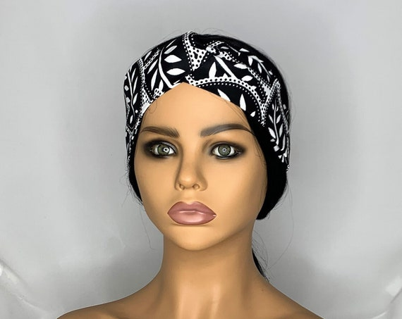 Black and White Leaves Twist Turban Headband