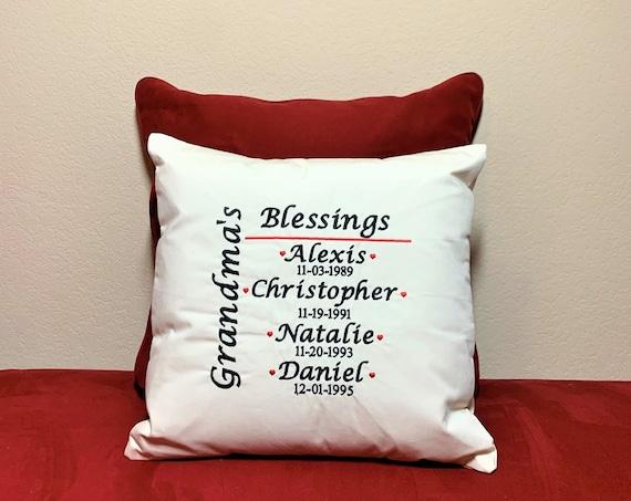 Grandma Embroidered Pillow