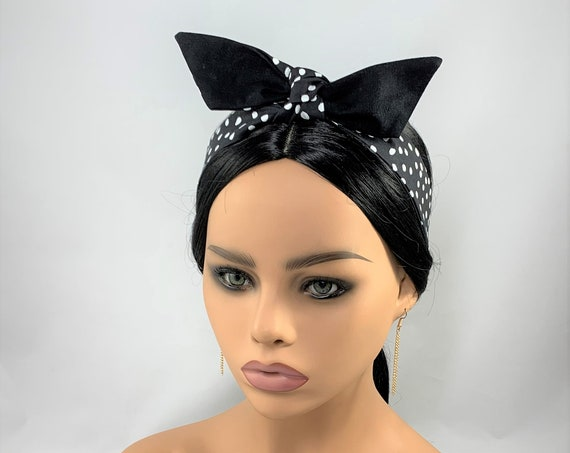 Black with White Dots Reversible Tie Headband