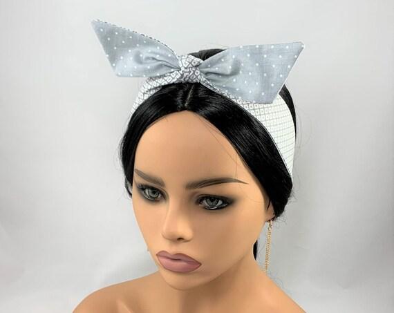 Gray Diamond and Dots Reversible Tie Headband