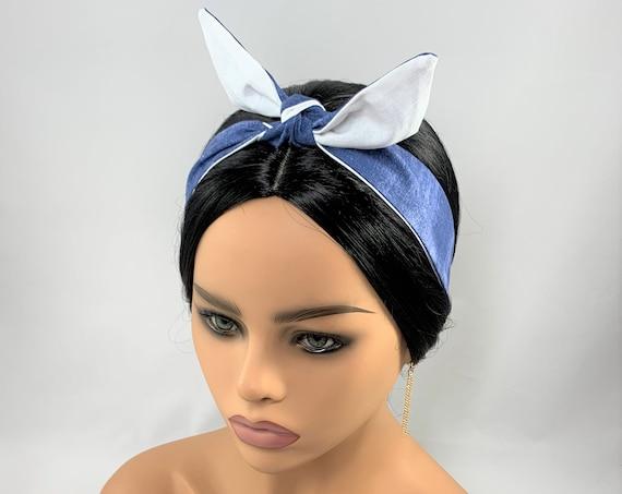 Brush Denim Reversible Tie Headband,