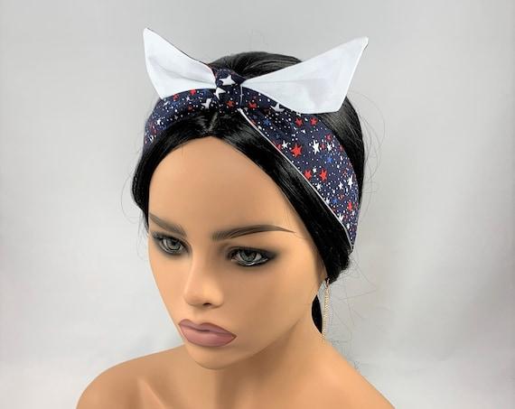 Red White Blue Reversible Tie Headband,