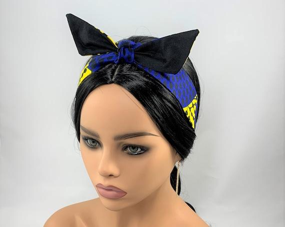 Blue and Yellow Reversible Tie Headband,