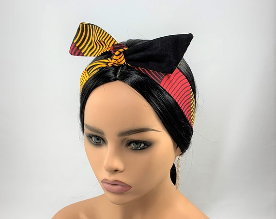 Red and Yellow Reversible Tie Headband,
