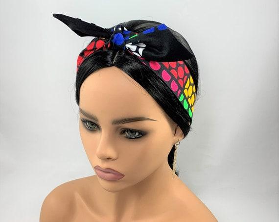 Colorful Dots Reversible Tie Headband,