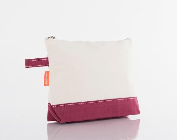 Maroon Monogrammed Makeup bag