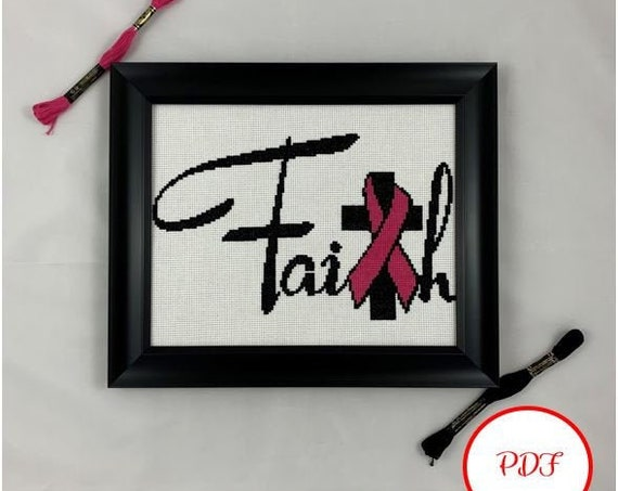 Faith with Pink Ribbon / Breast Cancer  Cross Stitch Pattern - PDF Download