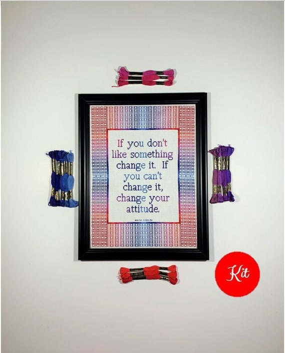 Inspirational Quote Cross Stitch Kit - Change