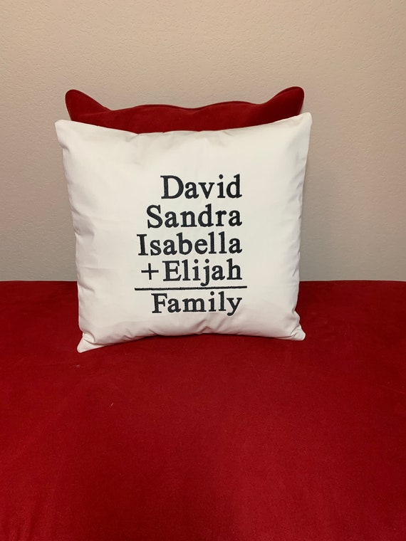 Personalized Family Embroidered Pillow