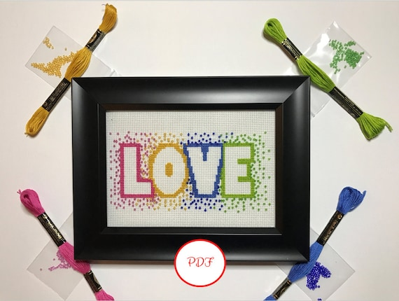 Love Cross Stitch with Beads Pattern - PDF download