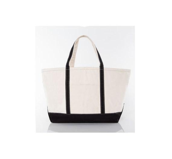 Black Large Monogrammed Tote Bag