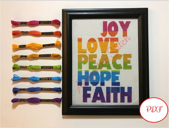 Joy Love Peace Hope Faith (Horizontal) Cross Stitch Pattern - PDF Download