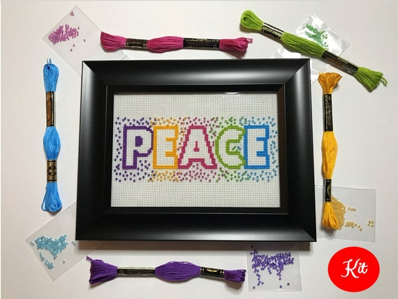 Peace Cross Stitch with Beads Kit