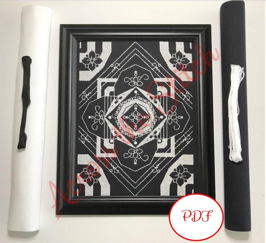 PDF download // White and Black Flower Mandala // Cross stitch