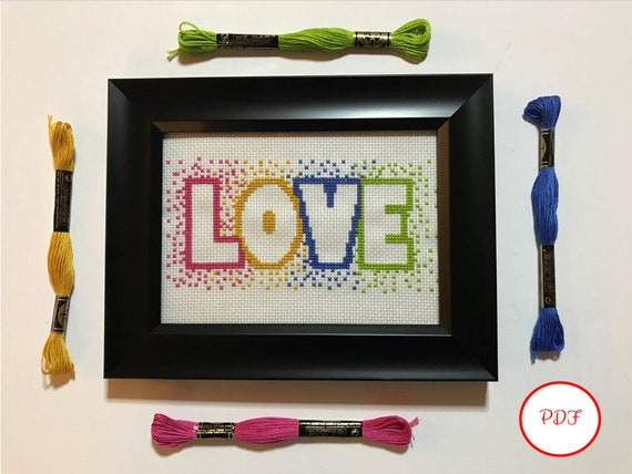 Love Cross Stitch Pattern - PDF Download