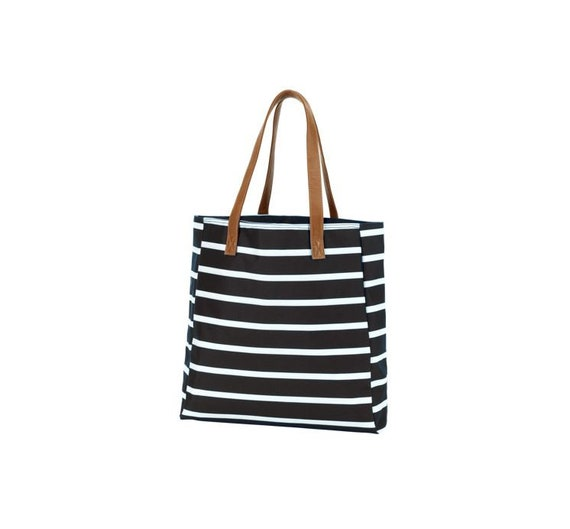 Black Stripe Monogram Tote, Stripe Tote Purse, Monogram Purse, Monogram Tote Bag, Personalized Tote Bag, Personalized Purse