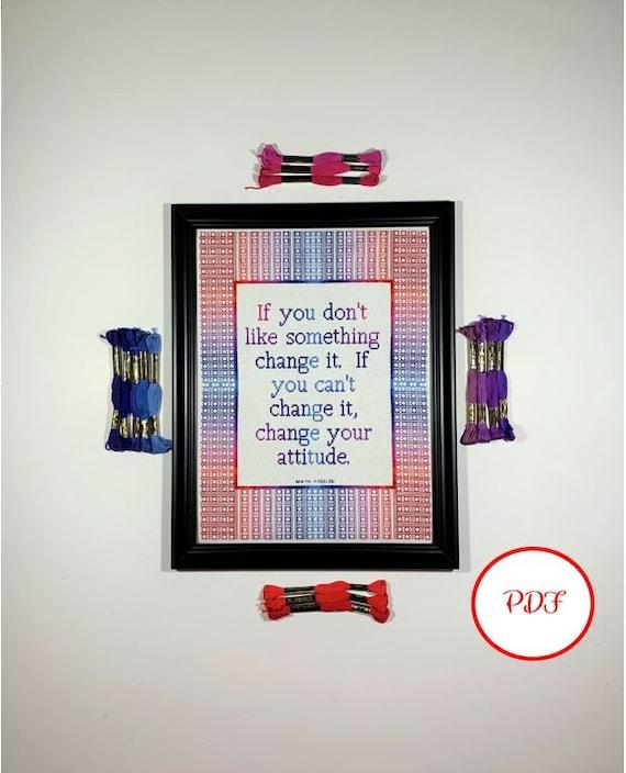 Inspirational Quote Cross Stitch Pattern - Change - PDF Download