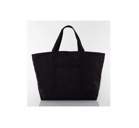 Solid Black Medium Monogrammed Tote Bag