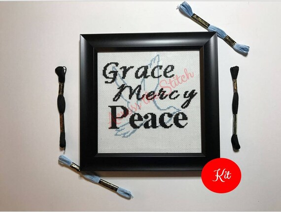 Grace Mercy Peace - Dove Cross Stitch Kit