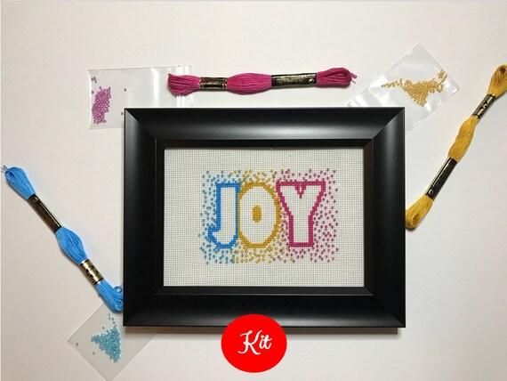 Joy Cross Stitch with Beads Kit