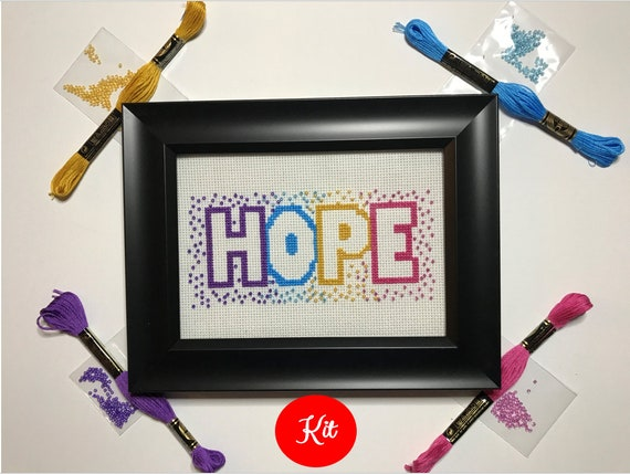 Hope Cross Stitch with Beads Kit
