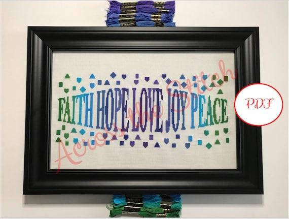 Hope Faith Love Joy Peace Cross Stitch Pattern - Cool Colors - PDF download