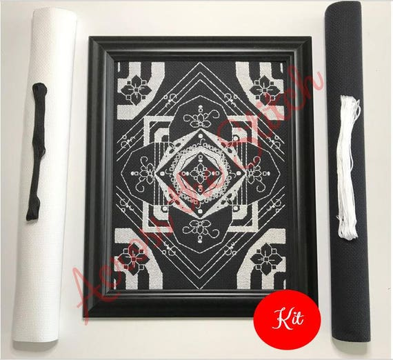White and Black Flower Mandala Cross Stitch Kit