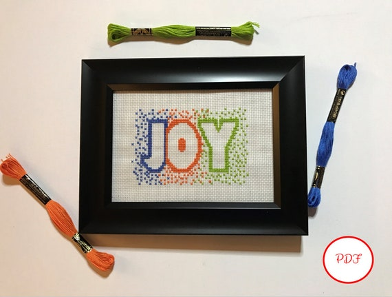 Joy Cross Stitch Pattern - PDF download